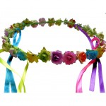 Floral rose and ribbon headband