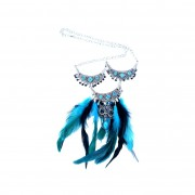 Owl dip dye feather Necklace