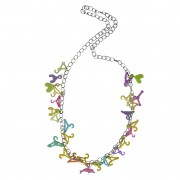 Colourful coat hanger kitsch necklace