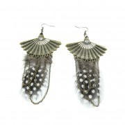 Drop chain, fan & feather earrings