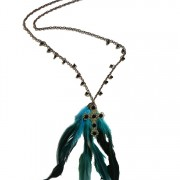 Antique cross & feather necklace