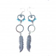Heart & feather earrings