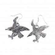 Silver eagle earrings