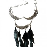 Statement feather bib necklace