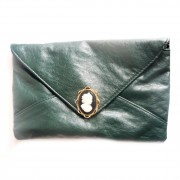 Vintage deep forest green clutch