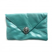 Lion head turquoise clutch