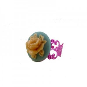 Paloma Floral cameo Pastel Blue & Pink ring