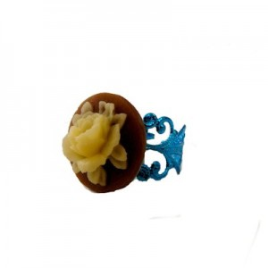 Paloma Floral cameo Brown & Blue ring