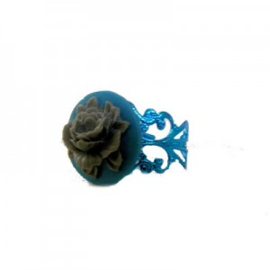 Paloma Floral cameo Blue ring