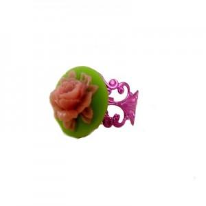 Paloma Floral cameo Green & Pink ring