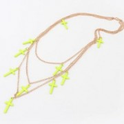 Neon yellow cross necklace
